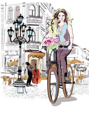 Наклейка Серия улиц с людьми и музыкантами, в старом городе