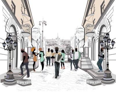 Наклейка Серия улиц с людьми в старом городе.