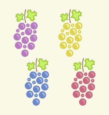 Наклейка Набор красочных Грозди винограда