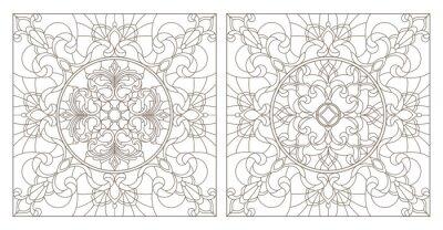Наклейка Установите контурные иллюстрации витража с абстрактными завихрениями и цветами, квадратное изображение