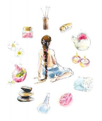 Наклейка Set for SPA salon. Watercolor hand drawn illustration.