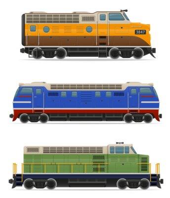 Наклейка набор иконок железнодорожный локомотив поезда векторные иллюстрации