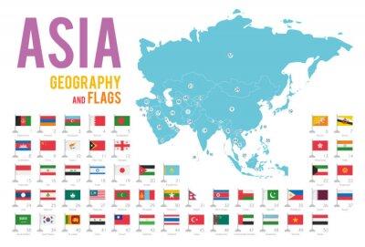 Наклейка Набор из 50 флагов Азии, изолированных на белом фоне и карта Азии со странами, расположенными на нем.