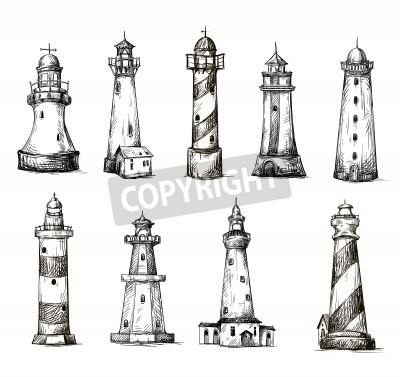 Наклейка set of cartoon lighthouses