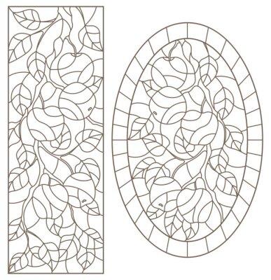 Наклейка Набор контурных иллюстраций витражей с ветками деревьев, яблоней, темными контурами на белом фоне, прямоугольными и овальными изображениями