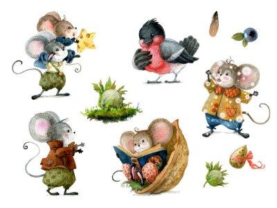 Наклейка Set of cute christmas mice in cartoon style. Watercolor christmas illustration