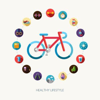 Наклейка Набор плоский дизайн спорта, фитнеса и здорового образа жизни икон
