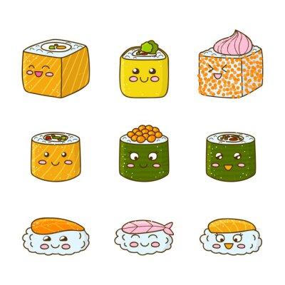 Наклейка Набор смешных суши и роллов