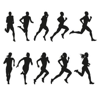 Наклейка Набор силуэты бегущих мужчин и женщин
