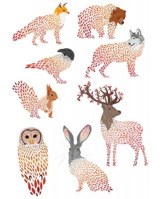 Наклейка Set of stylized animals. Collection of cartoon forest animals. Logos of wild animals. Illustration for children.