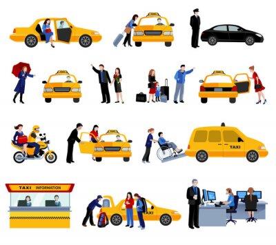 Наклейка Набор из службы такси иконки