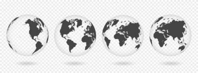 Наклейка Набор прозрачных глобусов Земли. Карта реалистичного мира в форме шара с прозрачной текстурой и тенью