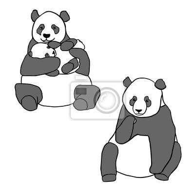 Наклейка Набор из двух милые панды и детеныша. Ручной обращается векторные иллюстрации, изолированных на белом фоне. Симпатичные мать панда с маленьким ребенком и сидит панды