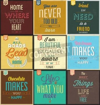 Наклейка Набор винтажных фонов Типографские - Мотивационные цитаты - Ретро цвета с каллиграфические элементы