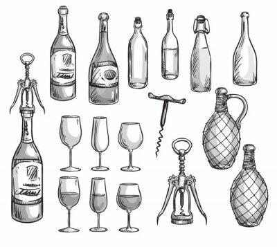Наклейка Набор винных бутылок, стаканов и штопоры