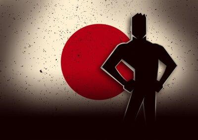 Наклейка Силуэт Иллюстрация человек, стоящий перед Японии Флаг