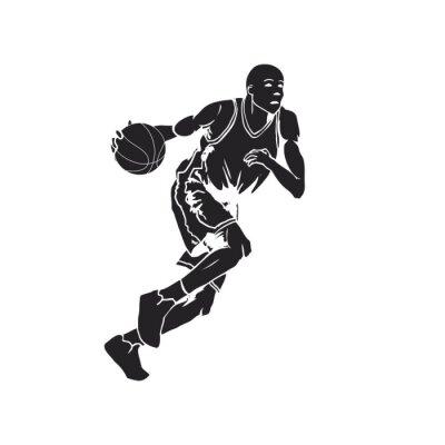 Наклейка Силуэт баскетболист дриблинг мяч