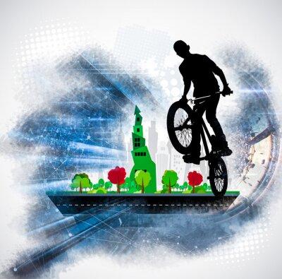 Наклейка Силуэт велосипедиста