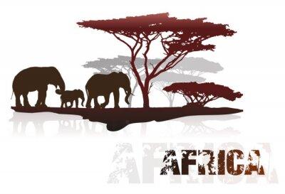 Наклейка Силуэт Африки деревьев и слонов