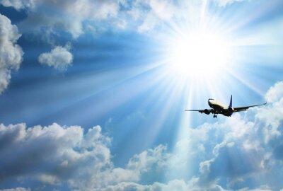 Наклейка Silhouette of airplane with a beautiful sky