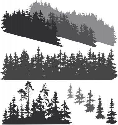 Наклейка силуэты леса