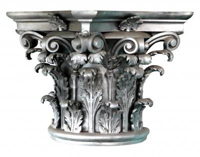 Наклейка Silver Corinthian order columns on the white background