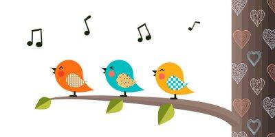 Наклейка Singing Birds on a branch.