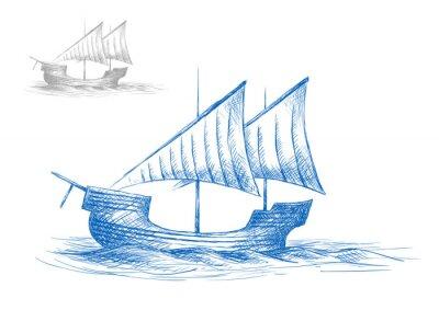Наклейка Эскиз старой средневековой парусника