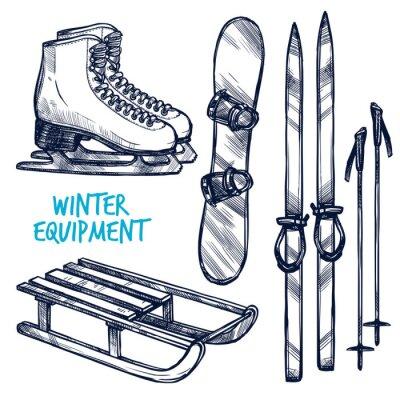 Наклейка Эскиз Зимние виды объектов