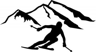 Наклейка Лыжная трасса Горы Фон