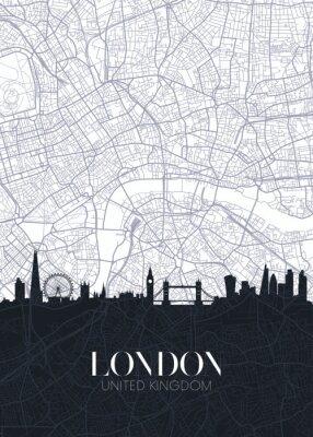 Наклейка Skyline and city map of London, detailed urban plan vector print poster