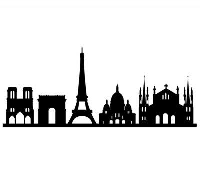 Наклейка горизонт Parigi су Sfondo Bianco