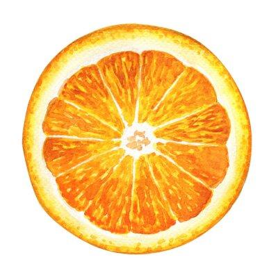 Наклейка Кусочек свежего апельсина на белом фоне
