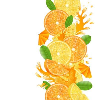 Наклейка Нарезанные апельсины и лимоны