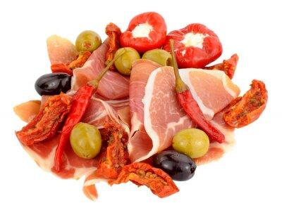 Наклейка Нарезанный Серрано ветчина с оливками и перец