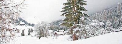 Наклейка Снежная гора в зимний период