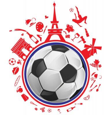 Наклейка Футбольный мяч с символом франция