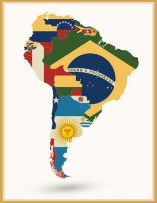 Наклейка Южная Америка Карта с флагами и цветами Vintage