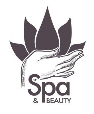 Наклейка Спа и красота, косметические процедуры, ароматерапия в салоне вектор.