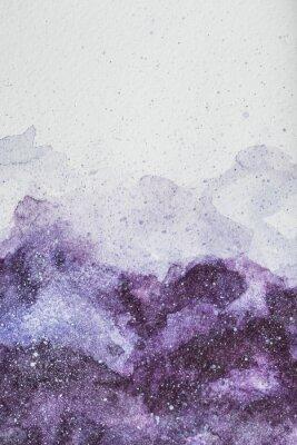 Наклейка космическая живопись с фиолетовым акварельной краской на белом фоне