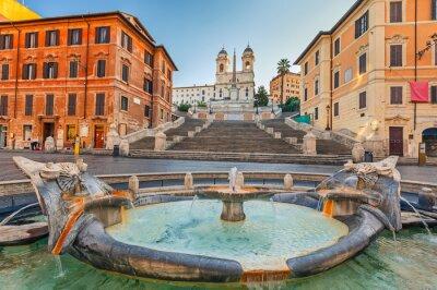 Наклейка Испанская лестница на утро в Риме, Италия