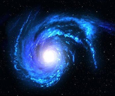 Наклейка Спиральная галактика в глубоком космосе с звезда фоне поля.