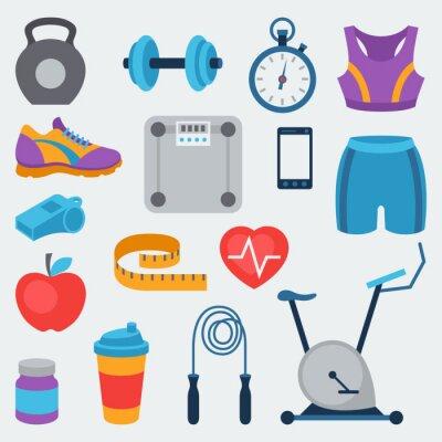 Наклейка Спорт и фитнес набор иконок в плоском стиле.