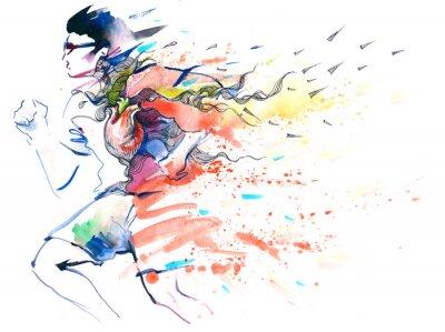 Наклейка спортивный бег