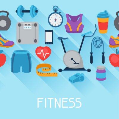 Наклейка Спорт бесшовные модели с фитнес-иконки в плоском стиле.