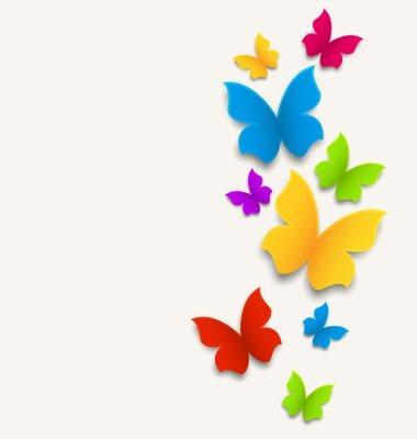 Наклейка Весна карта с бабочками, красочный состав