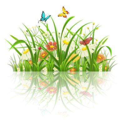 Наклейка Весенняя трава, цветы и бабочки с отражением на белом
