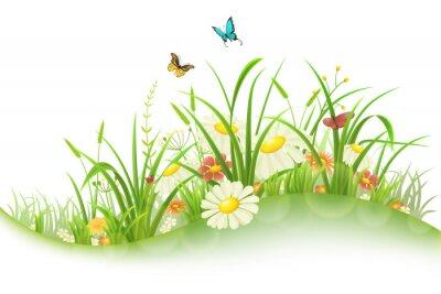 Наклейка Весна лето луг с зеленой травой, цветами и бабочками