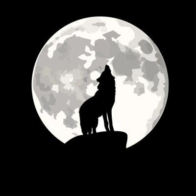 Наклейка Площадь иллюстрация Волк воет на луну.