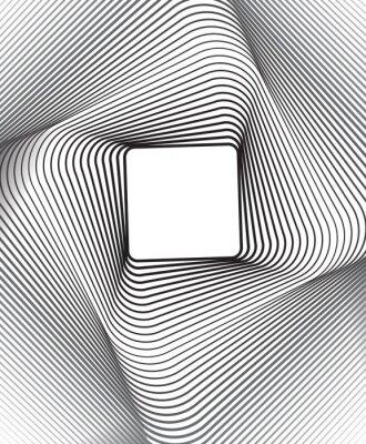 Наклейка квадратный фон оптическое искусство черно-белый